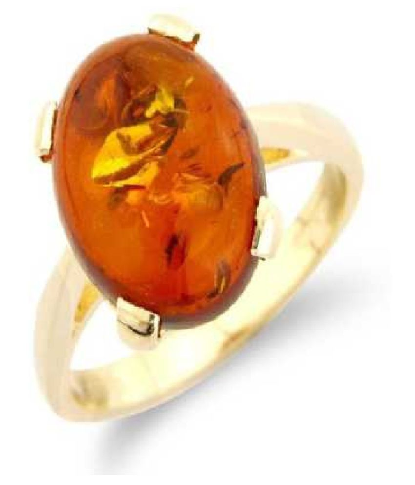 7.25 ratti natural Amber Stone pure GOLD PLATED RING(Anguthi)for unisex by  KUNDLI GEMS\n
