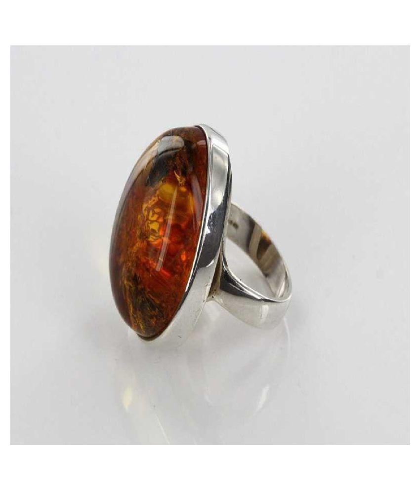 Amber RING(Anguthi)7.25 Ratti 100% Original Silver Amber Stone by   KUNDLI GEMS
