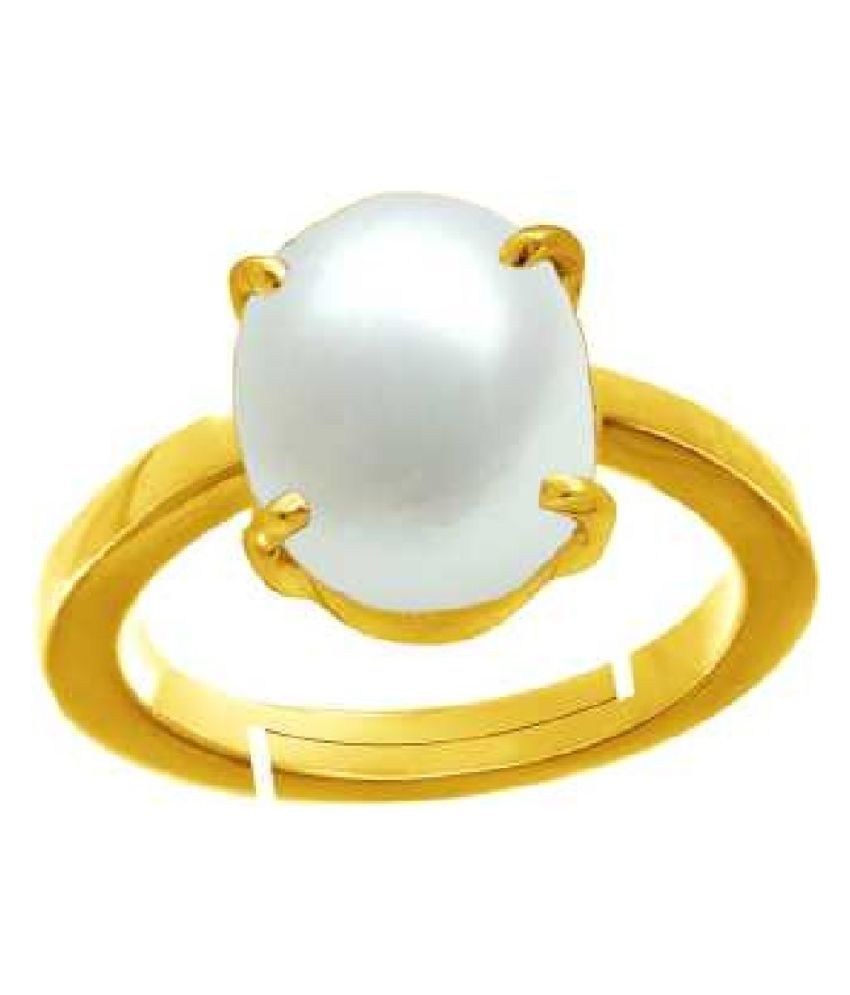 5 Ratti Pearl pure Gold Plated RING(Anguthi) for Unisex by  Ratan Bazaar\n