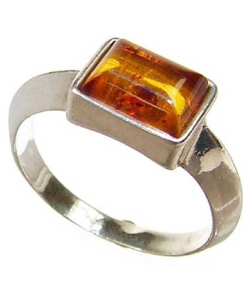 9.5 Carat Lab Certified silver Amber  Pendant  for unisex by  KUNDLI GEMS