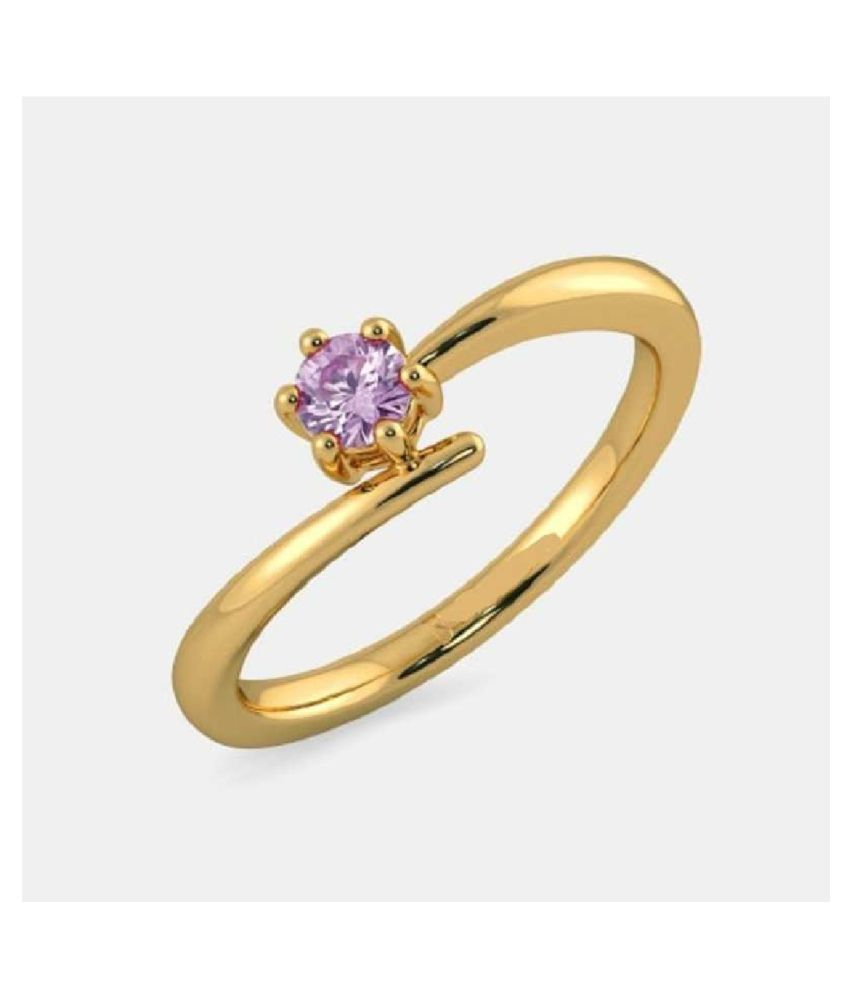 6.5 ratti natural PINK SAPPHIRE  Stone pure  GOLD PLATED   RING(ANGUTHI) for unisex by KUNDLI GEMS\n