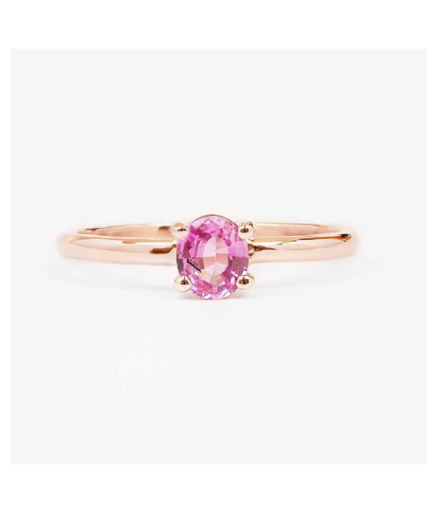 7.25 Ratti   GOLD PLATED   PINK SAPPHIRE  Stone RING(ANGUTHI) by KUNDLI GEMS