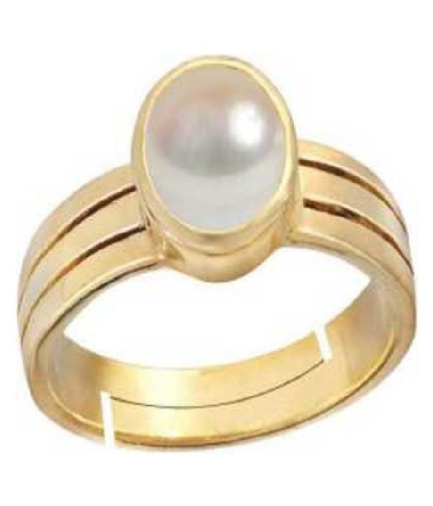 8.25 ratti Gold Plated Pearl RING(Anguthi) for men and women by RATAN BAZAAR