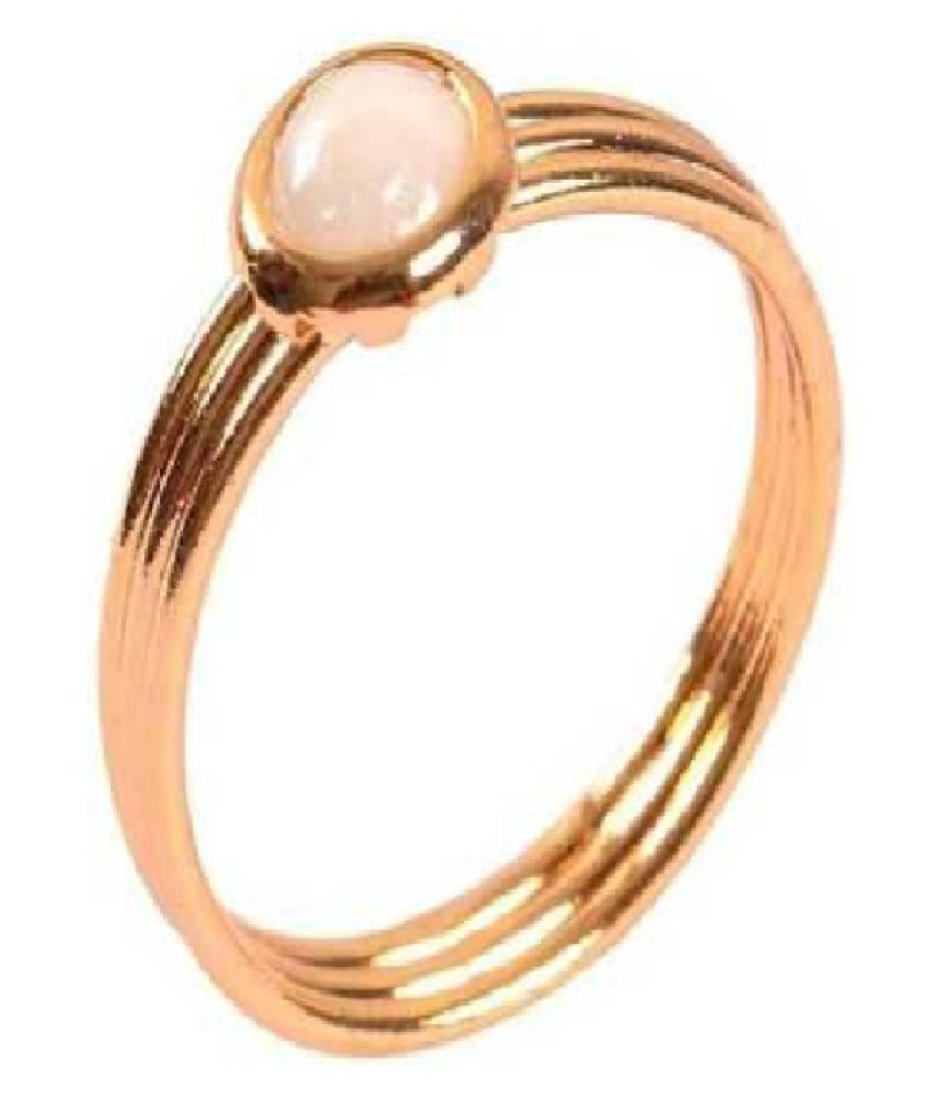 8.5 Ratti Pearl RING(Anguthi) with Natural Gold Plated  Pearl Stone by Ratan Bazaar