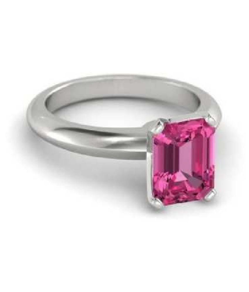 Certified 6 Carat  Silver PINK SAPPHIRE  Stone RING(ANGUTHI) by KUNDLI GEMS