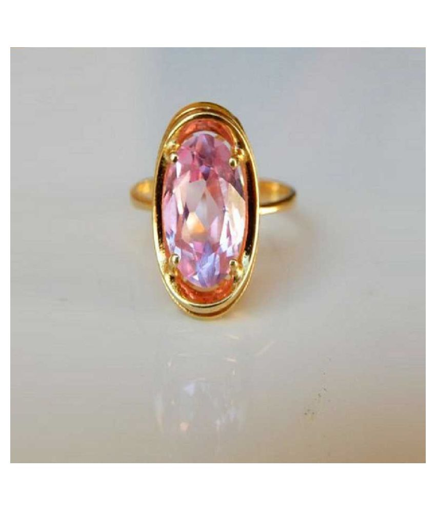 GOLD PLATED   8 Carat Classic PINK SAPPHIRE  RING(ANGUTHI) by KUNDLI GEMS