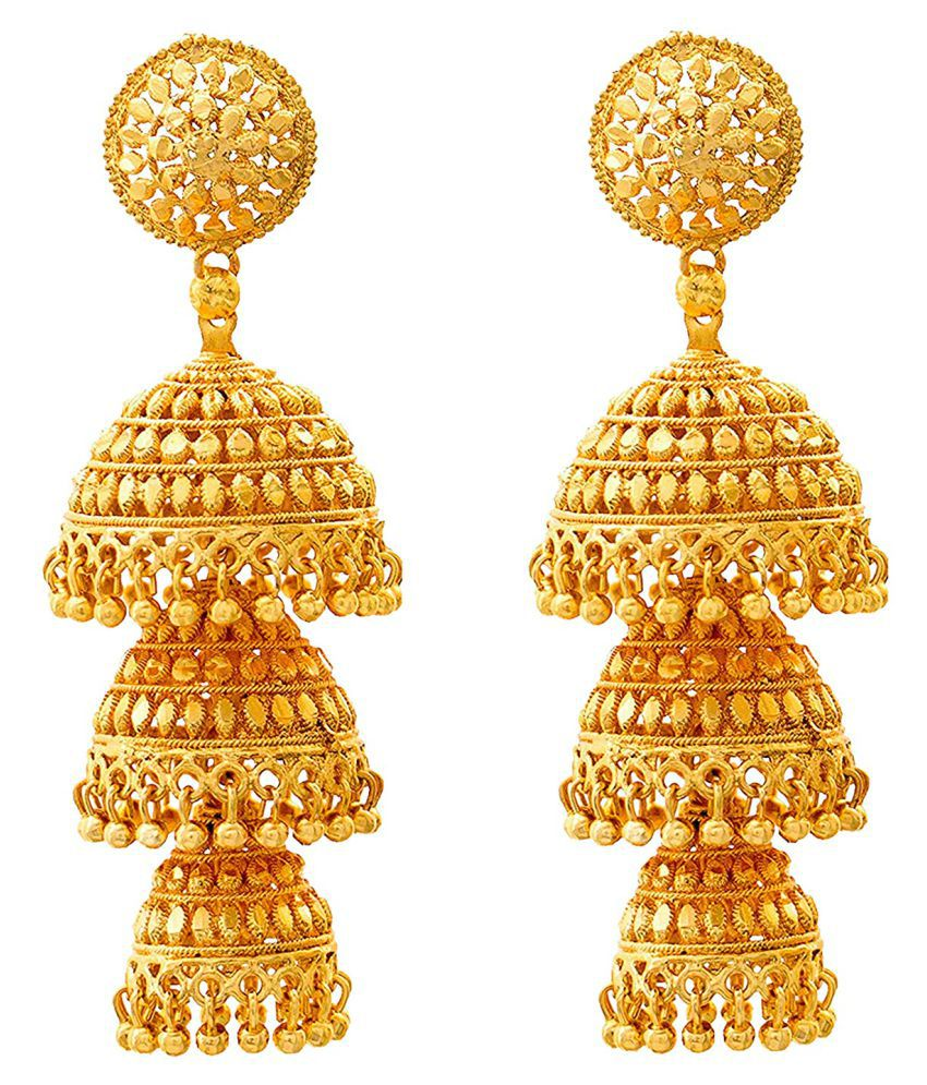 Happy Stoning Traditional Gold Plated Brass Jhumka Earrings for women & Girls