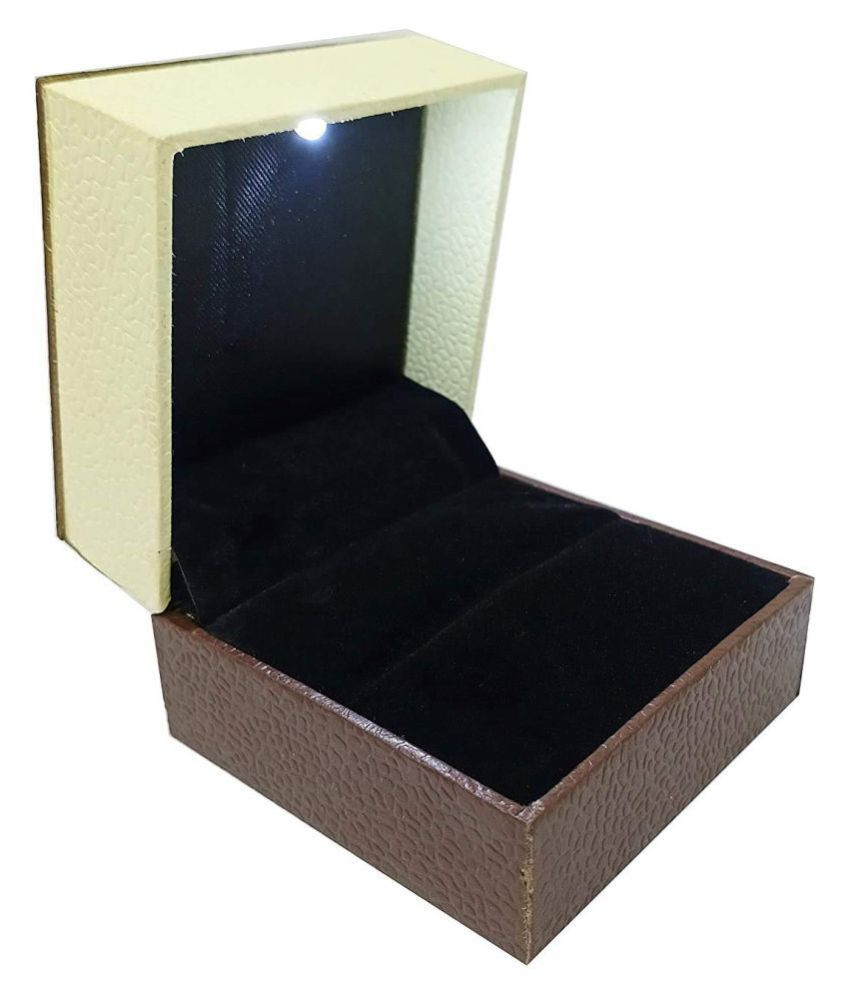 Jewellers LED Ring Box with Light Holder Display Case for Coin, Jewellery, Earrings for Men and Women (Brown)