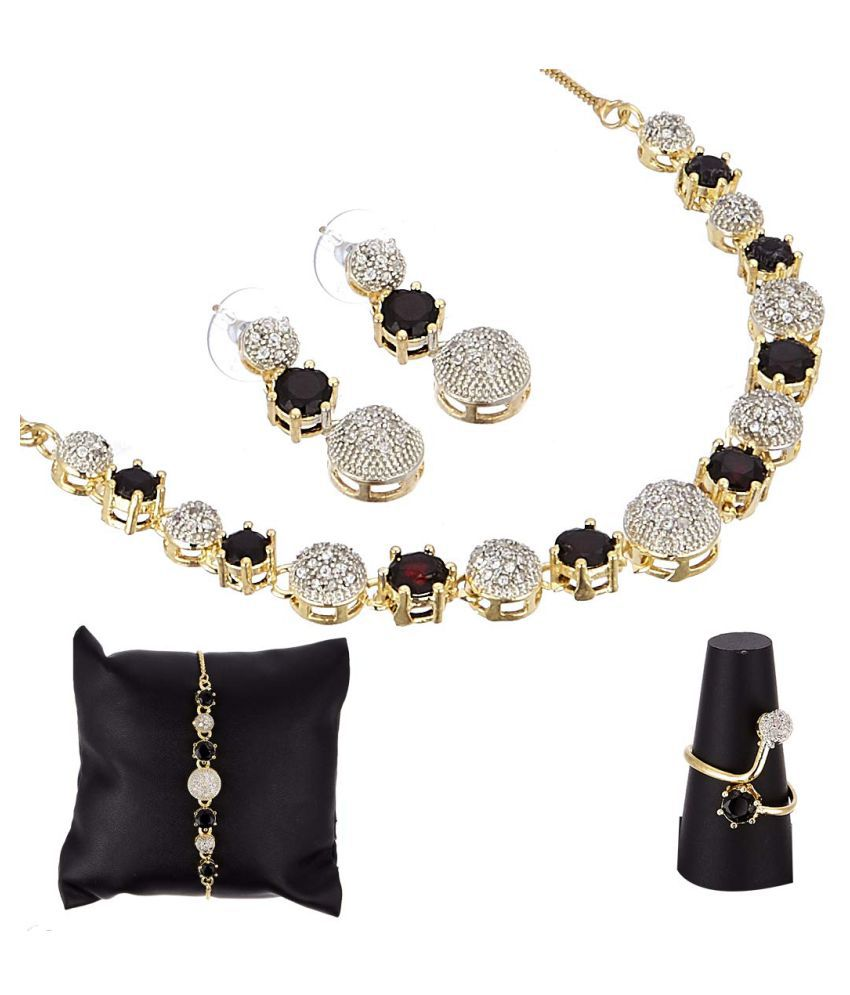 Navya Collections Alloy Black Choker Contemporary/Fashion Gold Plated Necklace set Combo