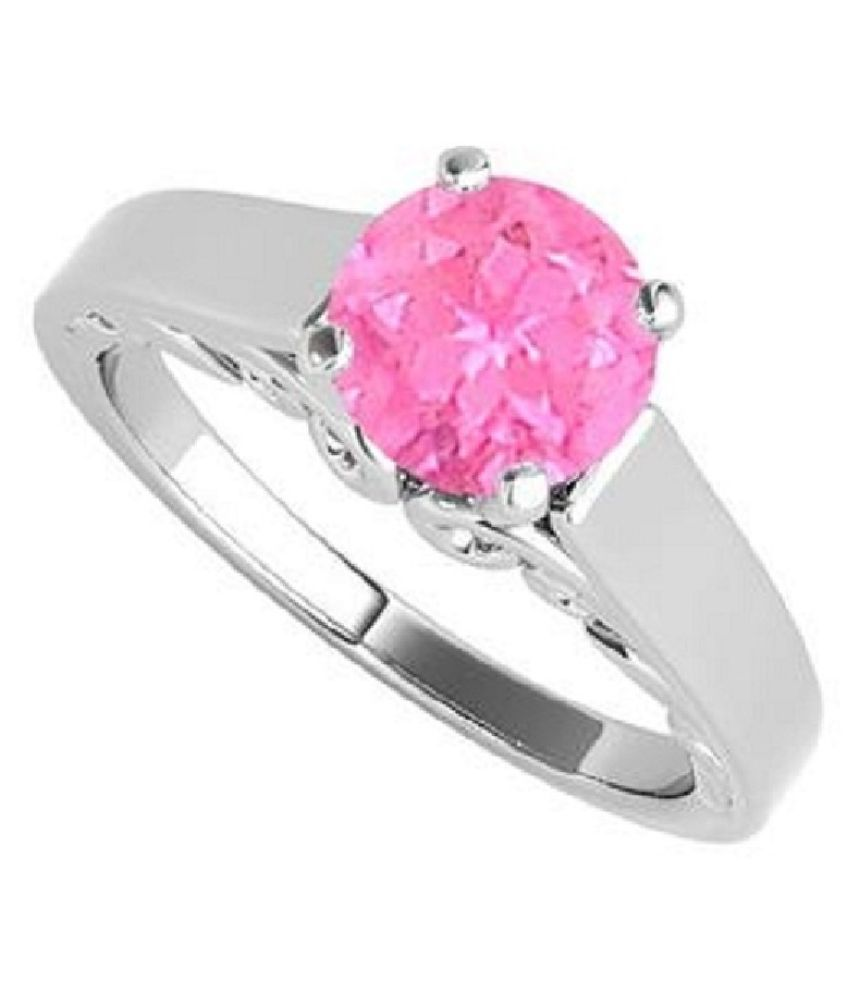 100% Real 6.5 Ratti PINK SAPPHIRE Silver RING(ANGUTHI) for astrological purpose by RATAN BAZAAR