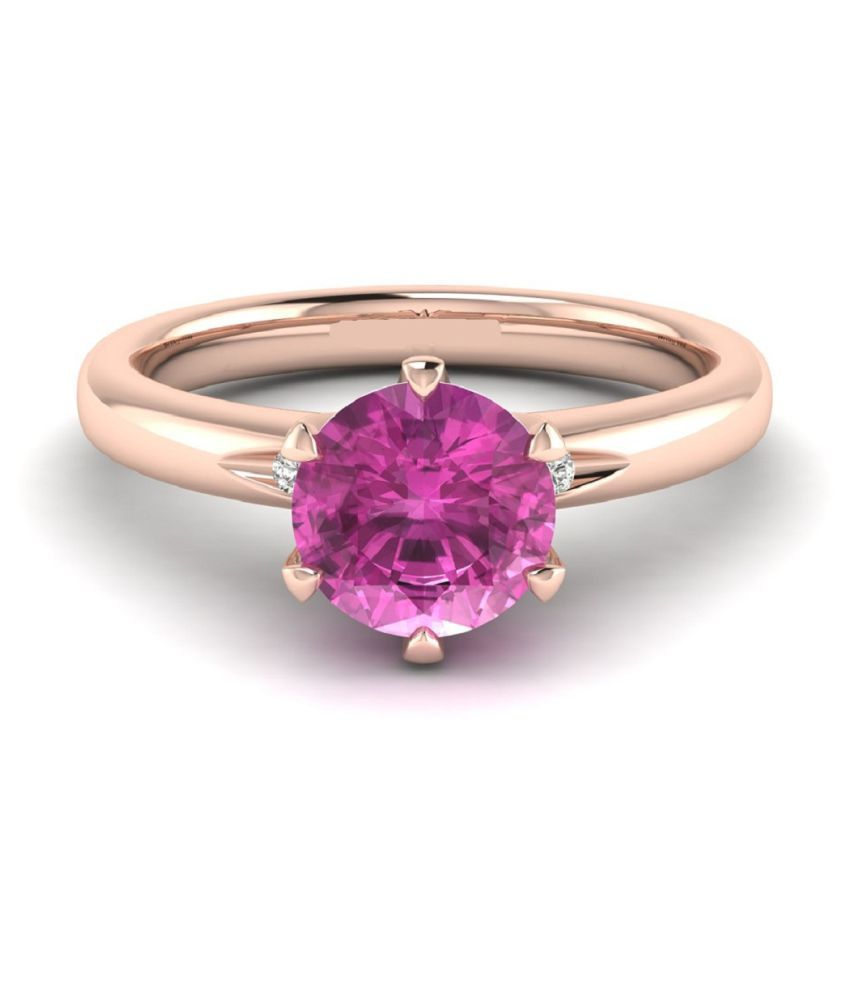 6.25 Carat Classic PINK SAPPHIRE Gold Plated RING(ANGUTHI) by RATAN BAZAAR