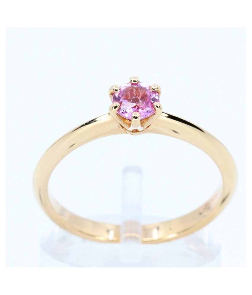 8.5 Ratti PINK SAPPHIRE RING(ANGUTHI) With Natural GOLD PLATED RING(ANGUTHI) by RATAN BAZAAR