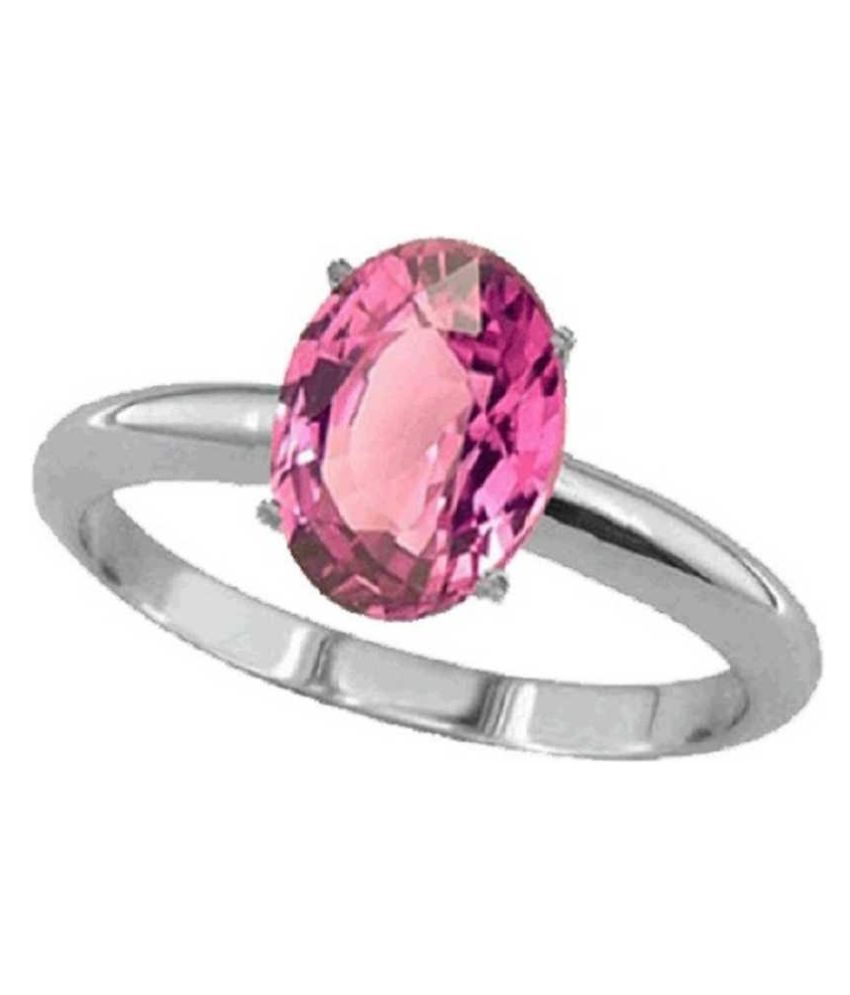 8 ratti RING(ANGUTHI) Natural PINK SAPPHIRE Silver RING(ANGUTHI)  by RATAN BAZAAR for unisex