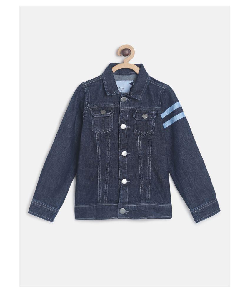 Tales & Stories Boy's Blue Printed Denim Jacket