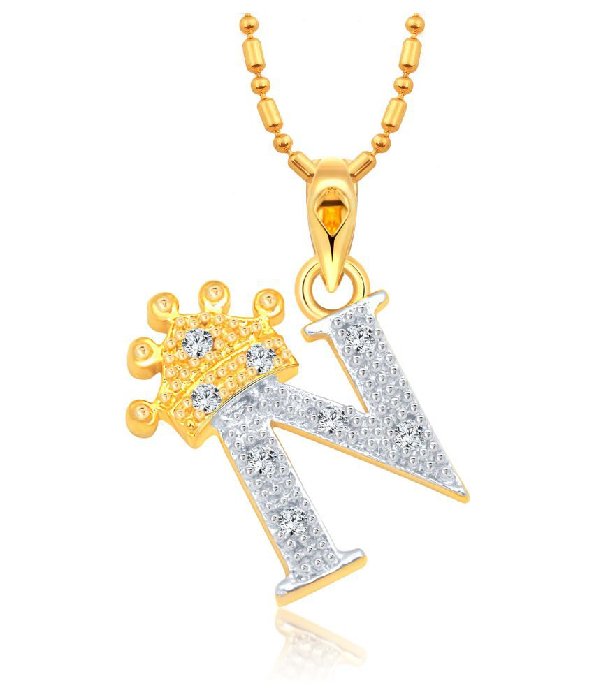 Vighnaharta Royal Crown 'N' Letter CZ Gold and Rhodium Plated Alloy Pendant for Men and Women -[VFJ1283PG]
