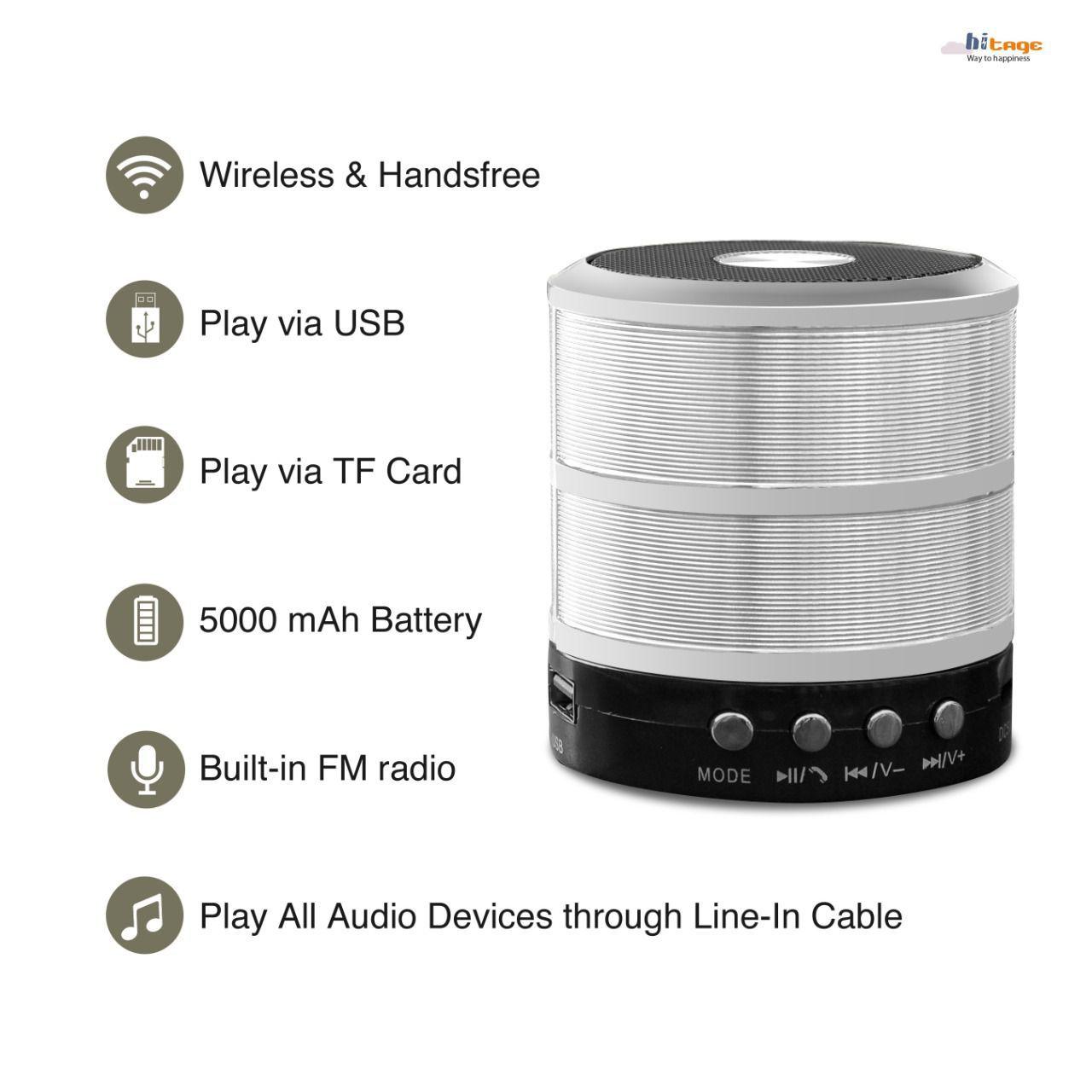 PHONETRONIC WS-887 Mini Bluetooth Speaker-Black color