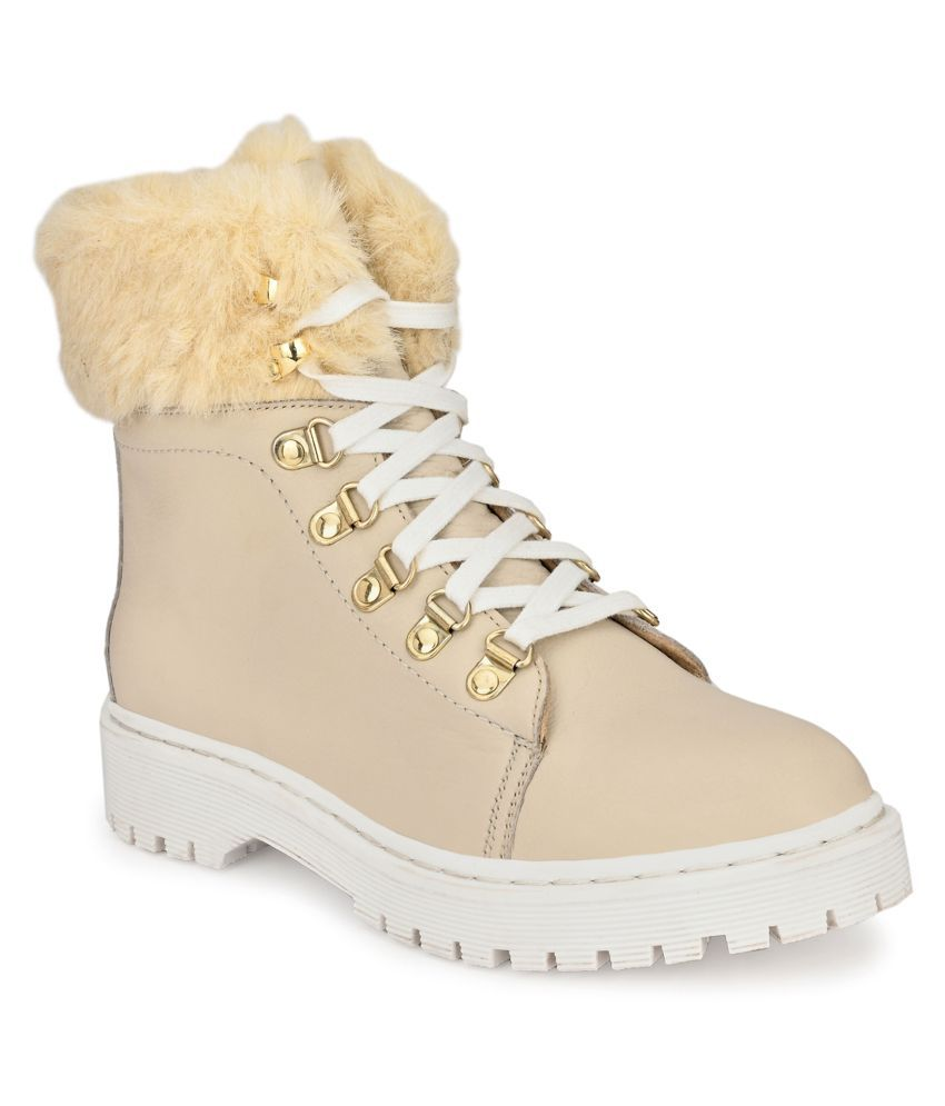 Delize White Ankle Length Casual Boots