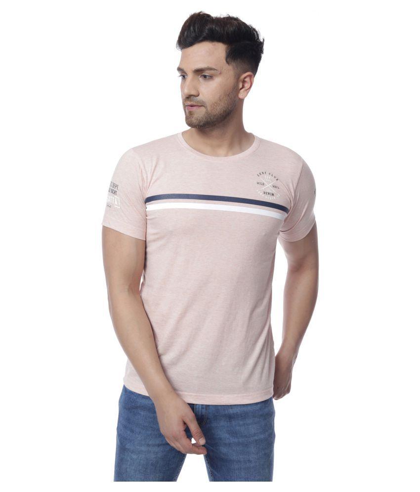 Gio Cotton Blend Peach Printed Polo T Shirt