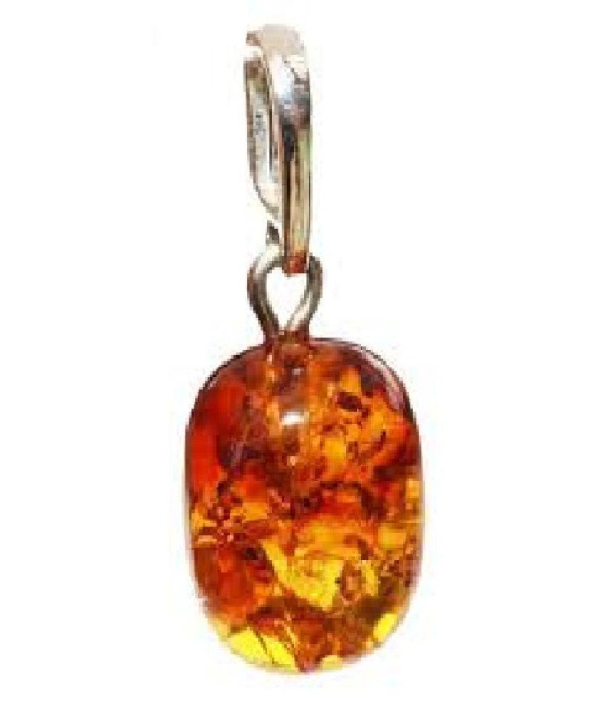 100% Original Amber Unheated & Natural Amber silver Pendant by Kundli Gems