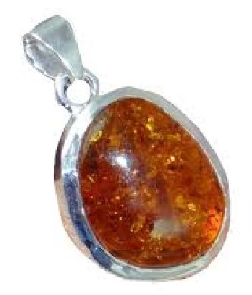 6 Carat  Amber  Pendant with lab Report silver Amber Stone by Kundli Gems