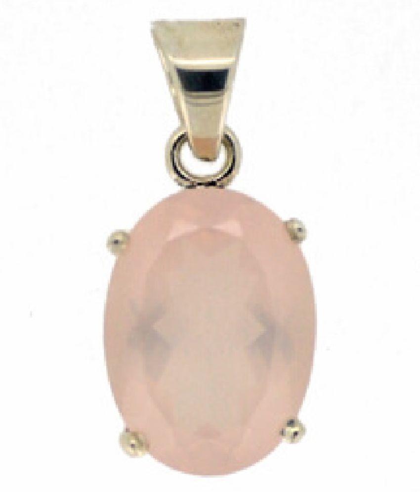 6 Carat Stone Rose quartz Gold Plated Pendant for unisex by Kundli Gems\n