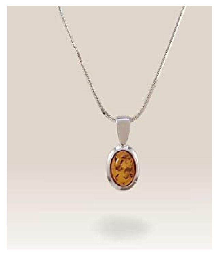 9.25 ratti Silver  Amber Pendant for unisex by  Kundli Gems\n