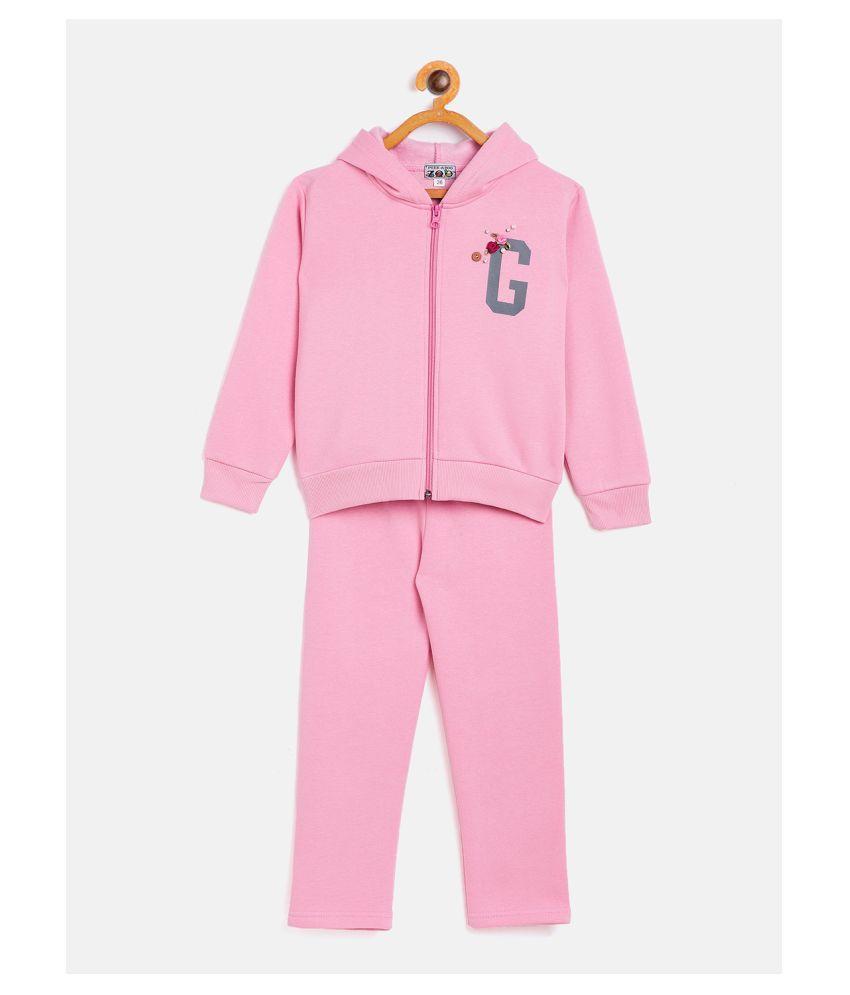Peek a boo zoo  Fleece Girls Full Sleeves Solid Hoodie and Pant Set Track Suit (Pink)