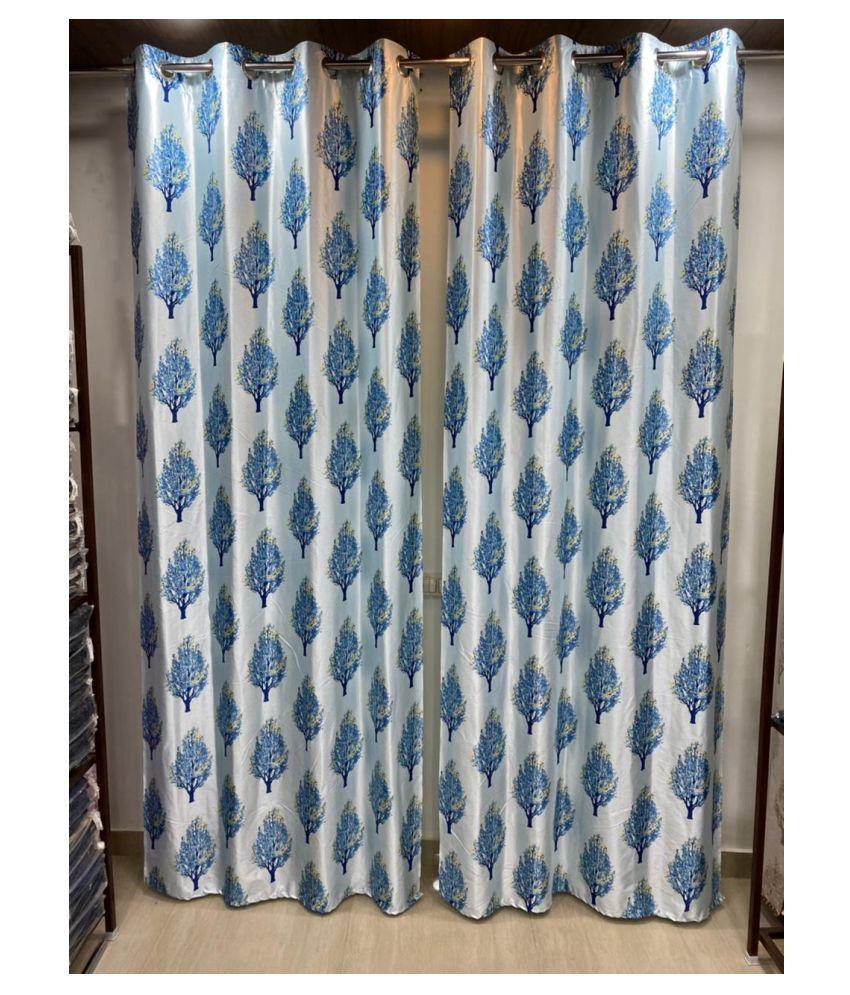 Sikka Set of 2 Long Door Blackout Room Darkening Ring Rod Polyester Curtains Wine