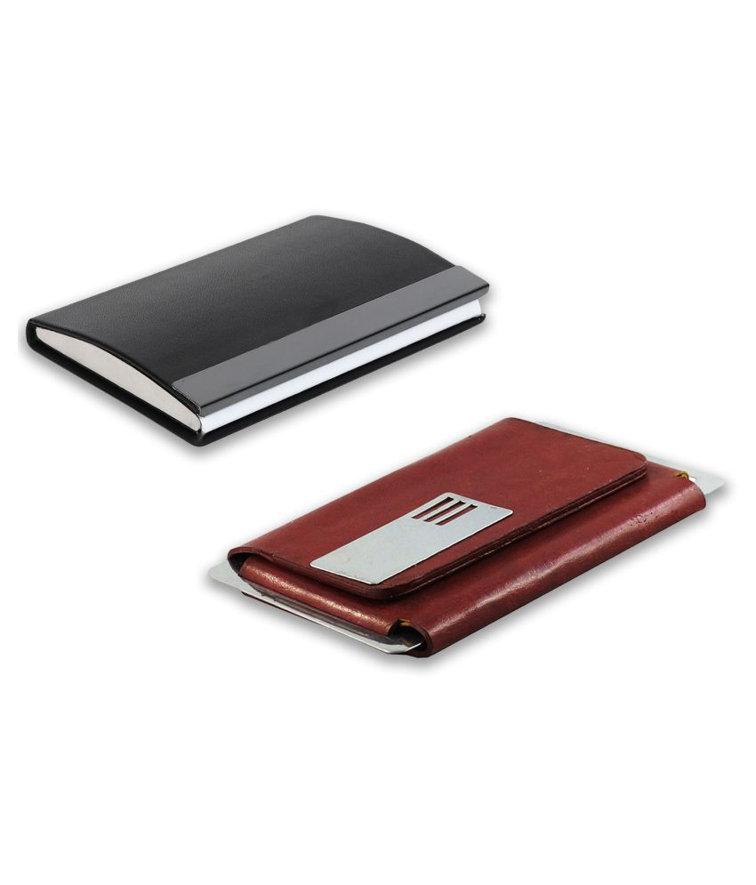 auteur 15-42  Multicolor Artificial Leather Professional Looking Visiting Card Holders for Men and Women Set of 2 (upto 15 Cards Capacity)