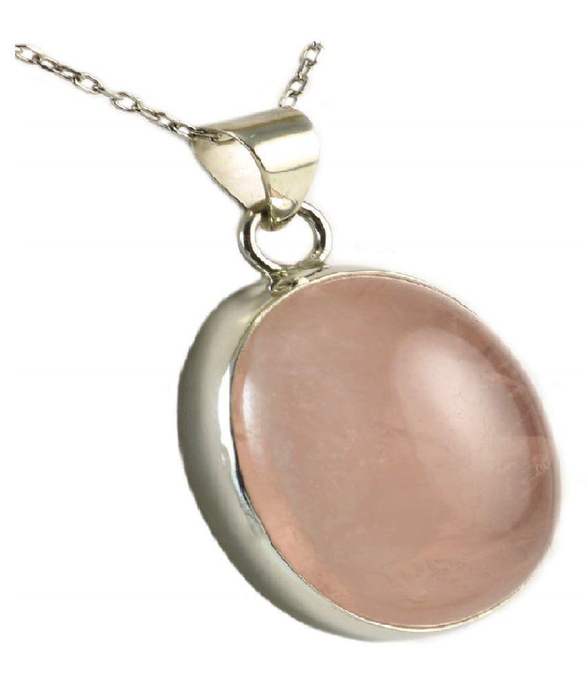 6.5 Ratti Rose quartz pure Silver Pendant for Unisex by  Ratan Bazaar \n