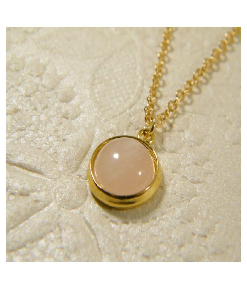 Certified 9 Carat  Gold Plated Rose quartz Stone Pendant by Ratan Bazaar