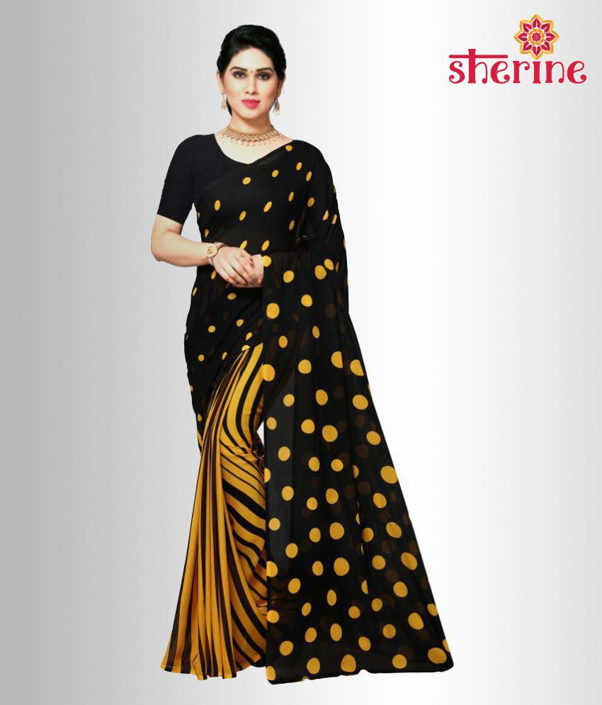 Sherine Black Printed Saree (Fabric- Poly Georgette)