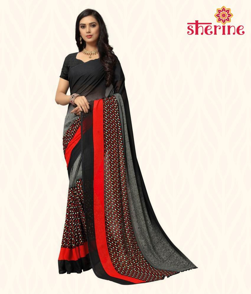 Sherine Black, Red Printed Daily Wear Georgette Saree (Black)