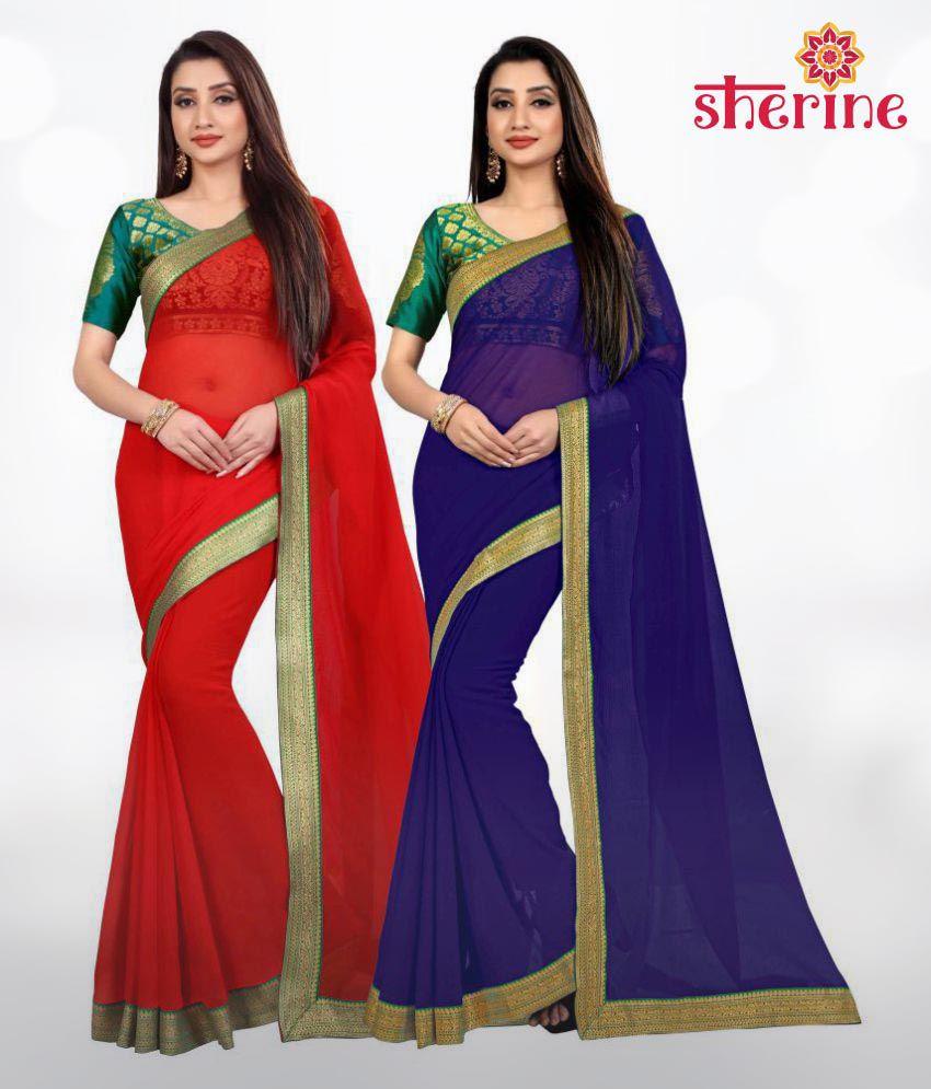 Sherine Red, Blue Plain with Border Saree Combo (Fabric- Poly Chiffon)