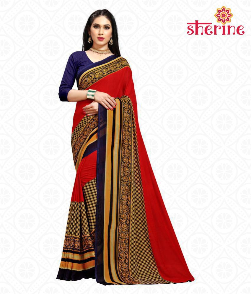 Sherine Red Printed Saree (Fabric- Poly Georgette)