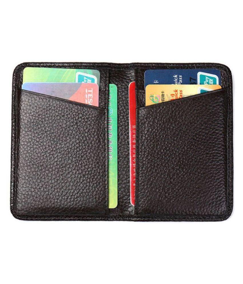 Hide&Sleek RFID Protected Slim Black Faux Leather Card Holder