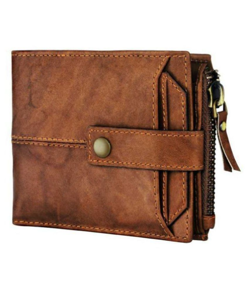 LUXIQE Leather Brown Casual Regular Wallet