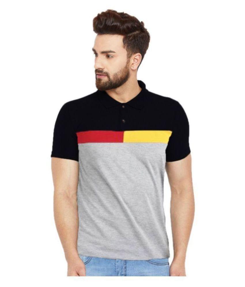 Leotude Cotton Blend Grey Color Block Polo T Shirt