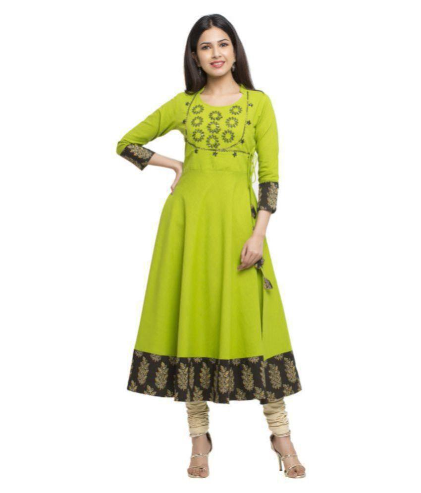 Yash Gallery Green Cotton Blend Angrakha Kurti