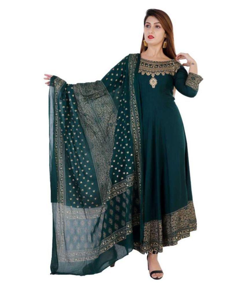 Barbina Green Rayon Gown