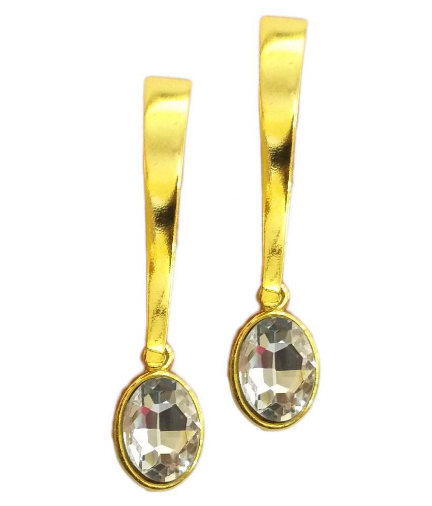 Beautiful long golden earrings with white crystal zircon