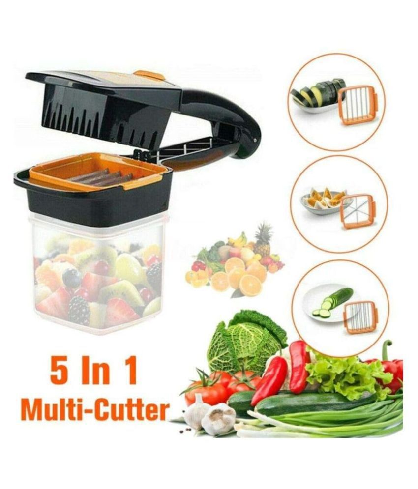 DREAMSKART Vegetable Dicer Chopper 5 in 1 Multi-Function Slicer Vegetable & Fruits Cutter, Dicer Grater & Chopper, Peeler with Container Onion Cutter Kitchen Accessories