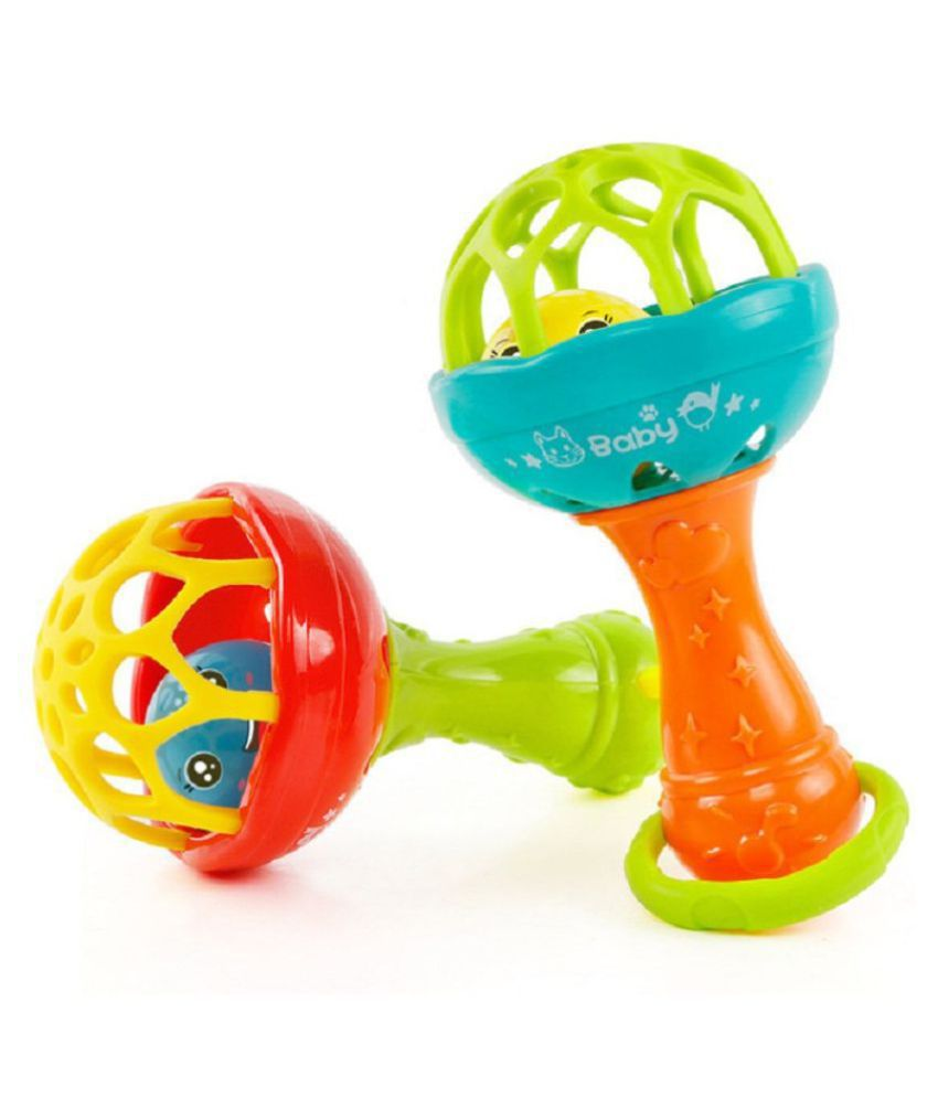 Emob Pack of 2 Soft Plastic Rubber Body Shaking Hand Bell Ball Baby Rattles Toy Rattle