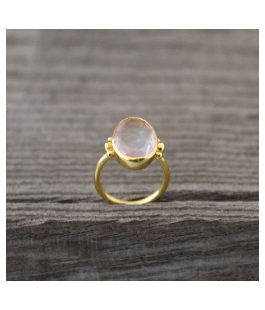 6.5 Ratti Gold Plated Original Rose quartz Ring Lab Certified Stone by Ratan Bazaar \n