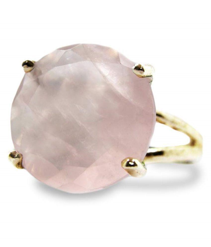 9 Ratti Gold Plated Original Rose quartz Ring Lab Certified Stone by Ratan Bazaar \n