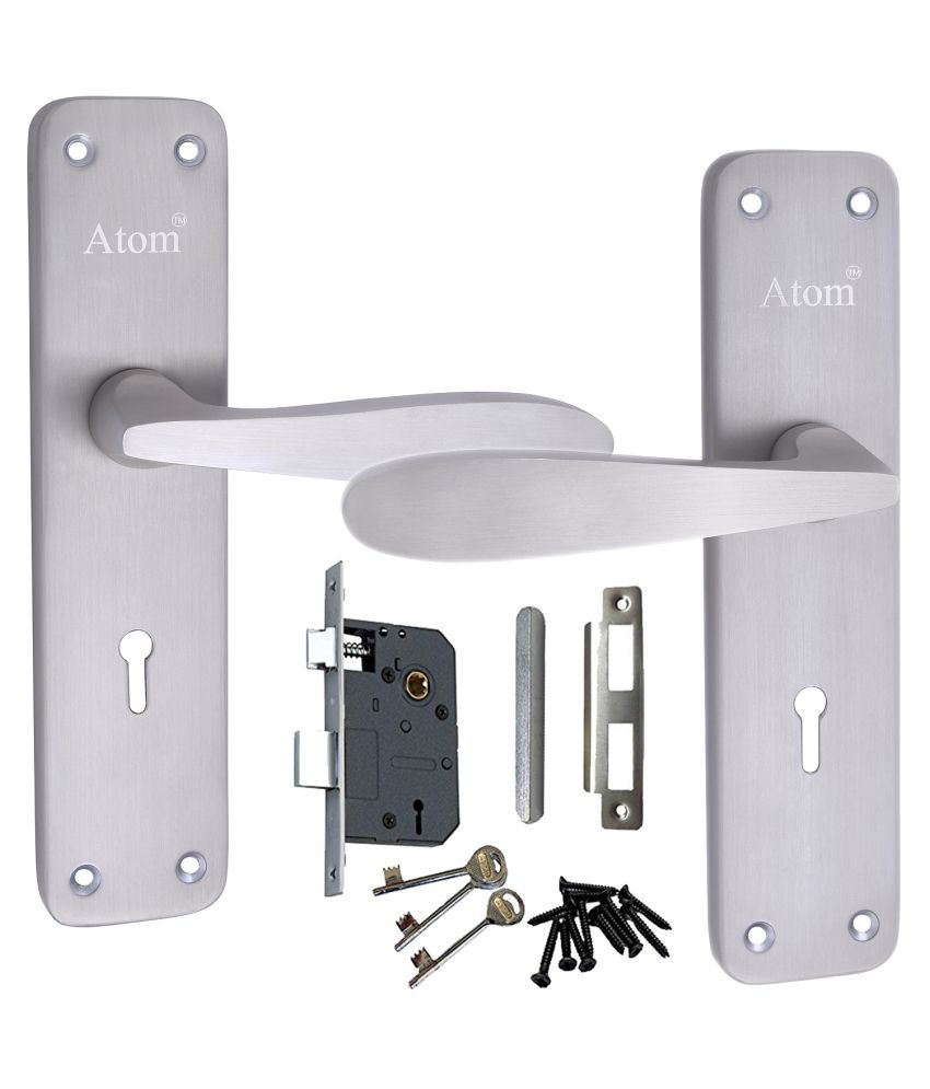 Atom Mortise Door Lock 805 K.Y. 7 Inch Mortice Handle Pair in Satin Finish with Legend 65 mm Brass Dead Bolt Double Action 6 Lever Lock.