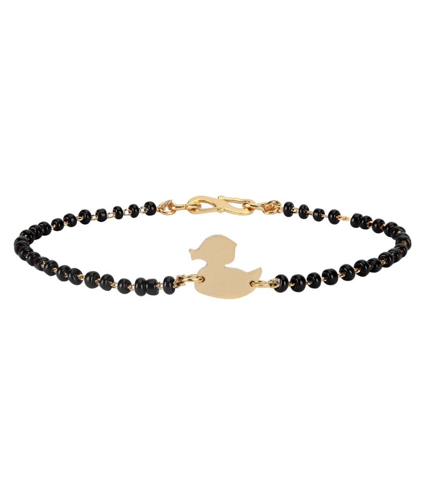 Baby Nazariya Black Thread Bead in Gold Plating DUCK Design