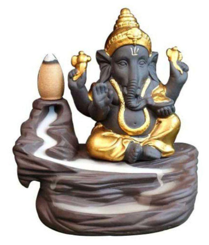 FSN Gold Resin Monk Buddha Smoke Backflow - Pack of 1