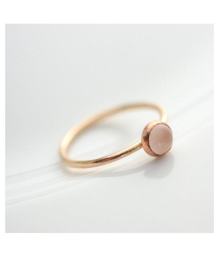 Gold Plated 9.5 Carat Classic Rose quartz Ring by Ratan Bazaar