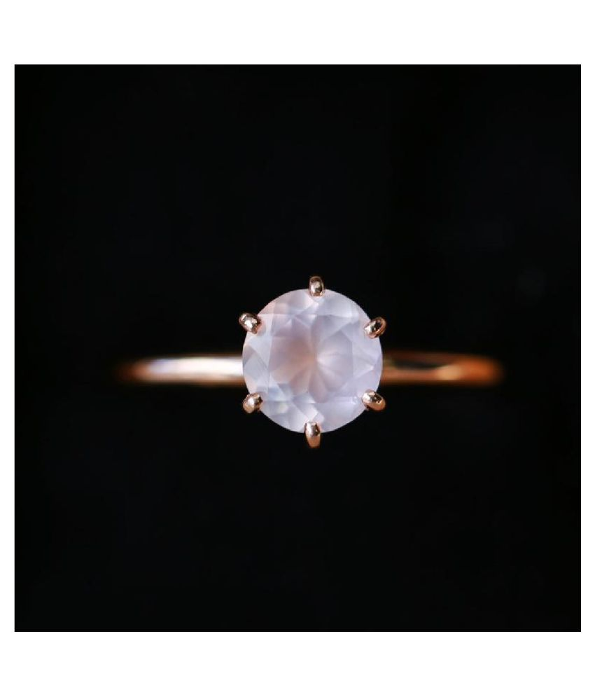 Rose quartz original & lab certified 6.5 ratti Gold Plated Ring for astrological purpose by Ratan Bazaar \n
